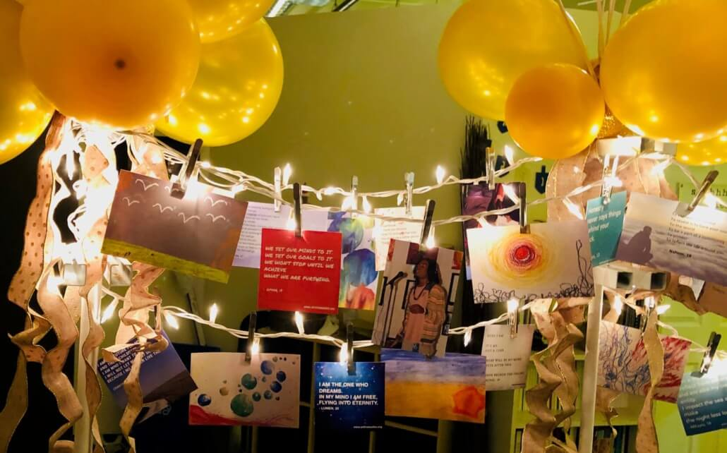 photo of youth poems and memes with gold balloons